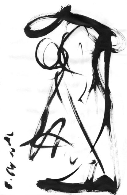 Stephen P Anderson bamboo ink brush on rice paper gesture sketch.