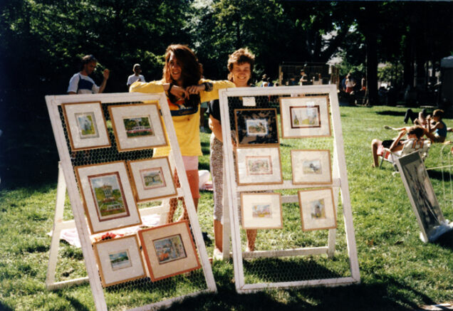 Stephen P. Anderson with mother at the Rittenhouse Square Fine Arts Annual 1989
